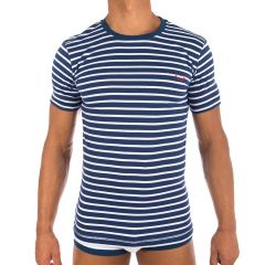 Bluebuck Navy with White Stripes T-Shirt Large