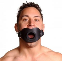 Leather Locking Open Mouth Gag