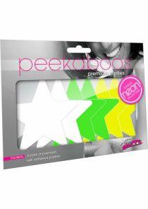 NEON STAR 3PK - WHT,GREEN,YLW