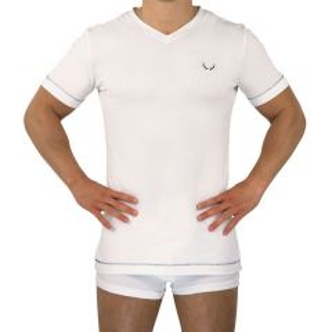 Bluebuck White V-Neck T-Shirt Medium