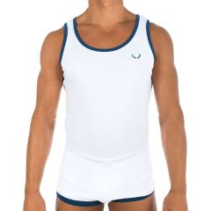 Bluebuck White with Navy Logo Vest Medium
